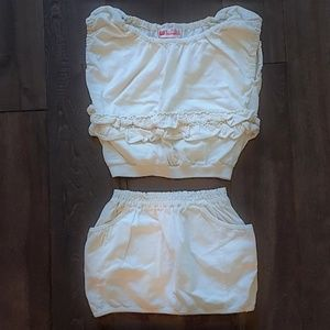Other - Off White Ruffled Top and Matching Skirt
